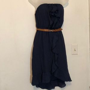 Strapless navy blue dress with braided belt